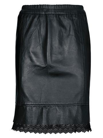 Кожаная юбка с кружева
