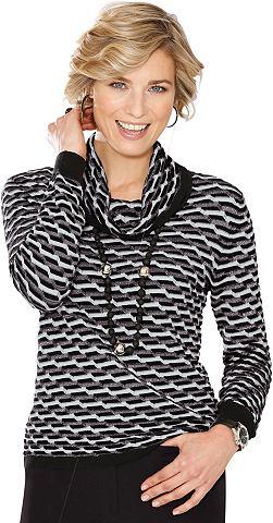 Пуловер с silberfarbenen Glanzfäd...