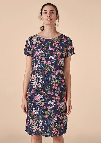 Платье сатиновое с c цветочным узором