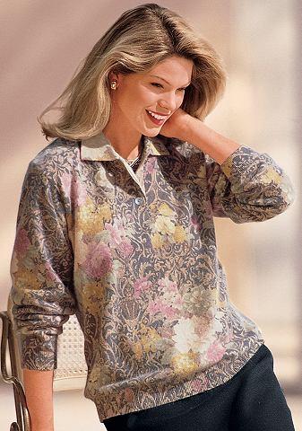 Пуловер поло с цветочный повторяющийся...