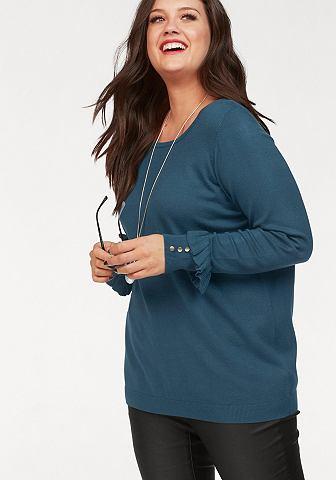 Megztinis su su klostėmis ant rankovių