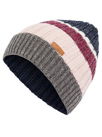 В полоску блестящий орнамент шапка