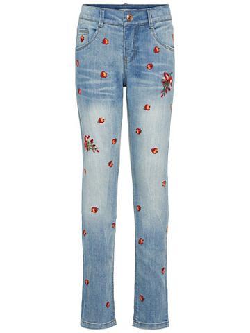 Regular форма цветочнaя вышивка джинсы...