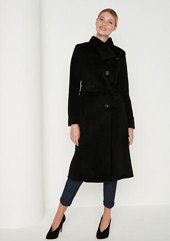 Изящный пальто шерстяное с пояс