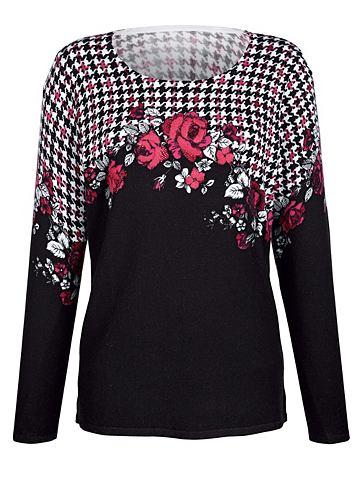 Пуловер с принт с розами