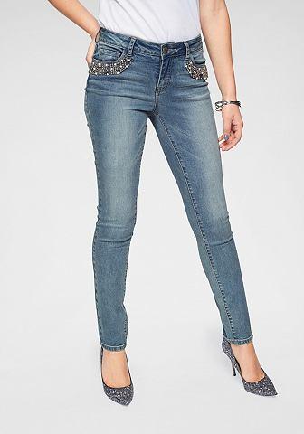 Узкие джинсы »mit Perlenstickere...