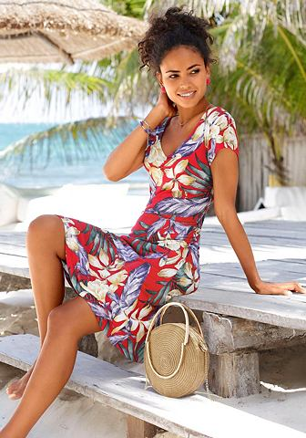 LASCANA Платье пляжное с сморщенный с V-образн...