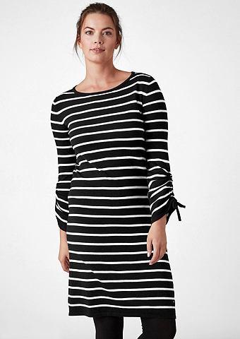 Платье трикотажное с морщинистыми рука...
