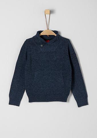 Трикотажный пуловер с высоким воротник...