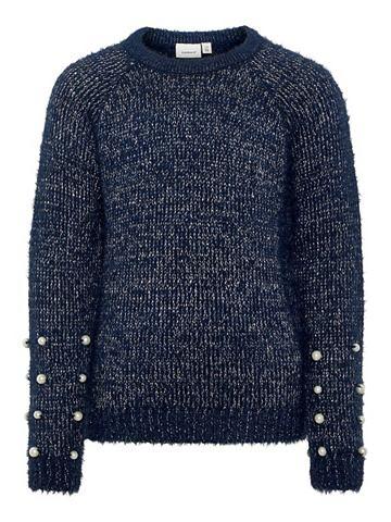 Perlenverzierter трикотажный пуловер