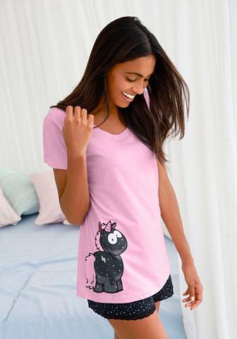 Пижама с Einhorn-Print и пятнистый шор...