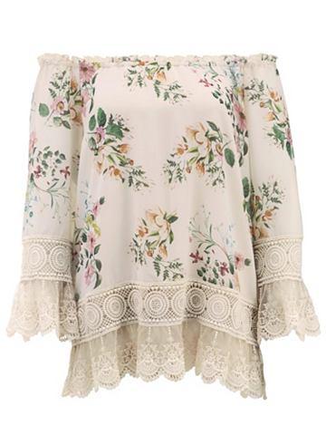 Блузка с набивным рисунком с кружевные...