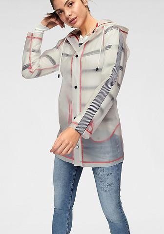 TOM TAILOR футболка поло Team куртка-дождевик с Kontrastnähten из Полупрозрачный качественный трикотаж