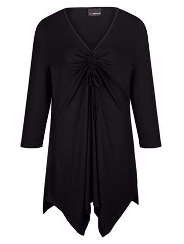 Блузка с драпировка и украшением на вы...