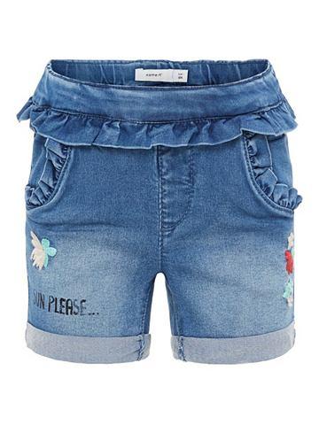 Узкий форма оборка шорты джинсовые