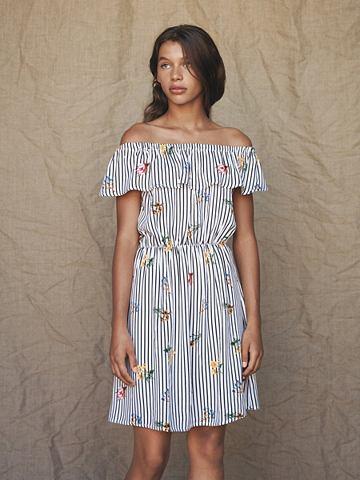 NAME IT Полосатый с открытыми плечами платье