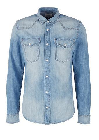 Рубашка джинсовая с имитация тертый тк...
