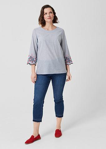 Полосатый блуза с Embroidery