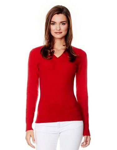 Пуловер с geripptem с V-образным вырез...