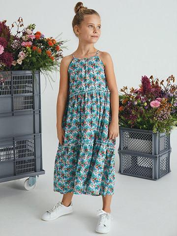 Цветочным узором платье-макси длинное