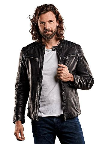 Модная Байкер-стиль куртка кожаная