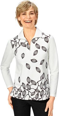 Блузка с platzierten Blattmotiv