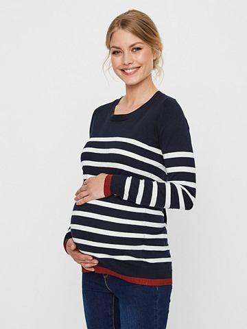 В полоску пуловер для беременных