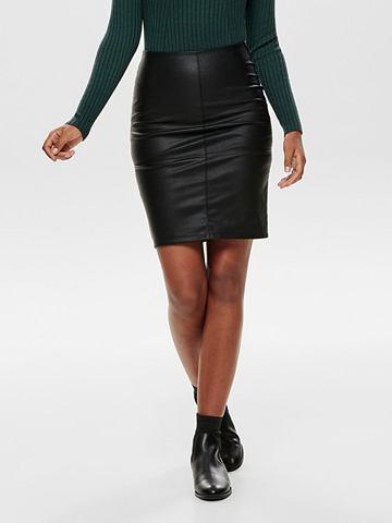 Искусственная кожа юбка средней длины