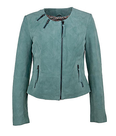 TOM TAILOR Lederjacke, Damen »Bisbee« - mint - 3636