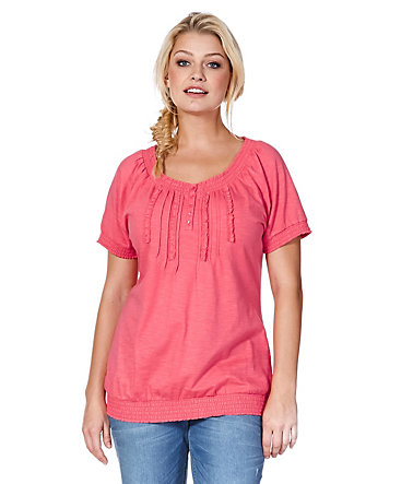 sheego Casual Luftig-leichtes Shirt - koralle - 40/4240