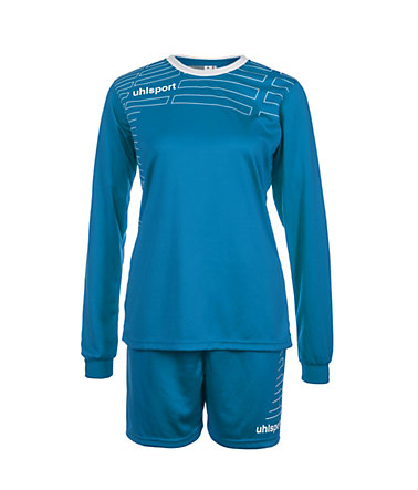 UHLSPORT Match Team Kit Longsleeve Damen - cyan/weiß - L-400