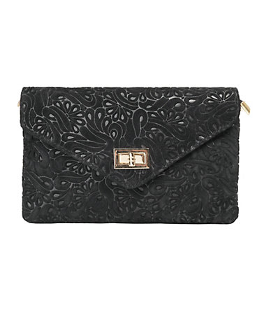 Samantha Look Leder Damen Clutch - schwarz