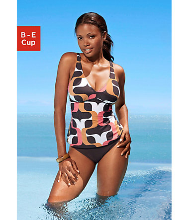 s.Oliver RED LABEL Beachwear Bügel-Tankini im Retrodesign  - braunbedruckt - 40(80)40 - CupB