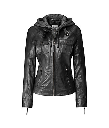 TOM TAILOR Lederjacke, Damen »Egoist« - black - 3636