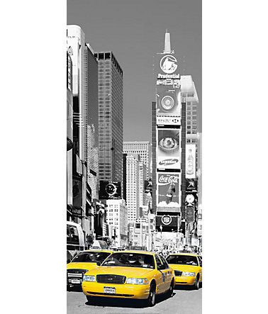 Home affaire Türposter »NYC Times square«, 86/200 cm - grau/gelb