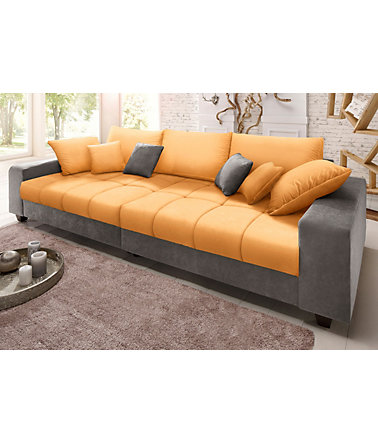 Home affaire Big-Sofa »Greenwich« - anthrazit/mango - Microfaser