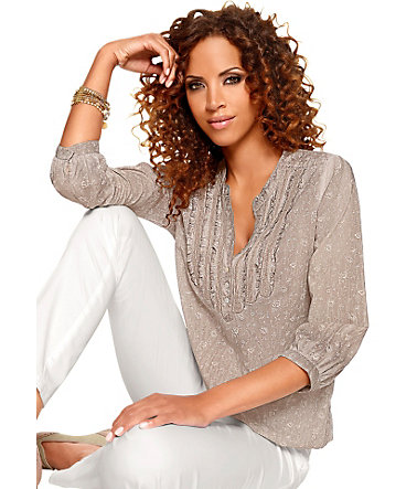 Classic Inspirationen Bluse mit dezentem Floral-Muster - taupe - 3636