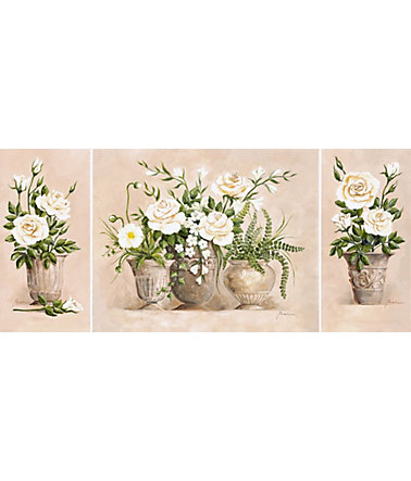 Home affaire, Kunstdruck auf Holzfaserplatte, »Rosen Bouquet«, 3er Set, 132/59 cm - Creme - 132/59cm132