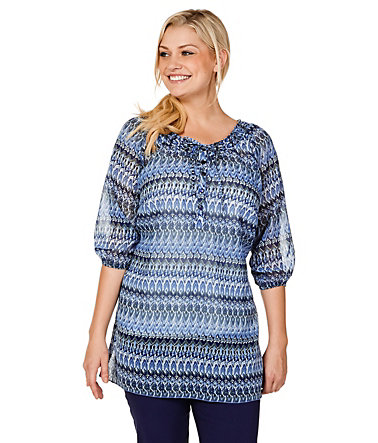 sheego Casual Tunika mit Wellenmuster - blau - 4040