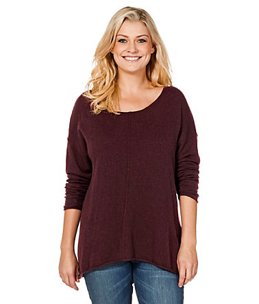 sheego Casual Pullover im Oversized-Stil - bordeauxmeliert - 40/4240