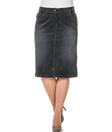 sheego Casual Cordrock in leichter Used-Waschung - anthrazit - 4040 - Normal-Größe
