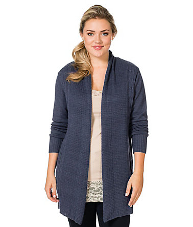 sheego Casual Strickjacke mit langen Ärmeln - marinemelange - 40/4240