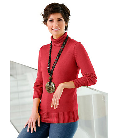 Collection L. Pullover mit Rollkragen - korallenrot - 3636