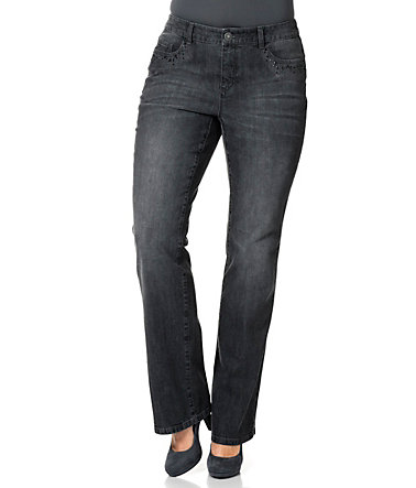 sheego Denim Bootcut Jeans - blackused - 2020 - Kurz-Größe