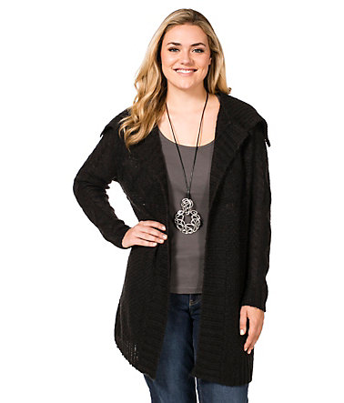 sheego Casual Weiche Strickjacke - schwarz - 40/4240