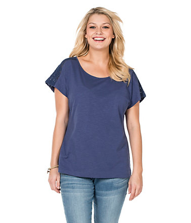 sheego Casual Shirt mit Spitze - jeansblau - 40/4240