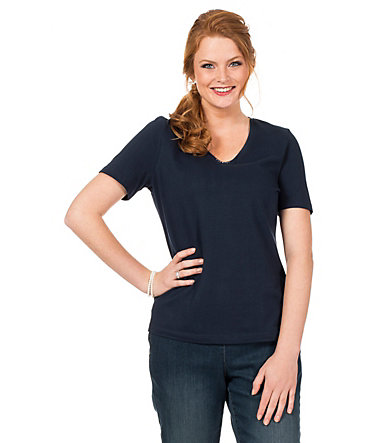 sheego Class Shirt mit Glitzersteinen - marine - 40/4240