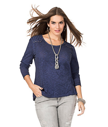 sheego Trend Modisches Shirt - jeansblau - 40/4240