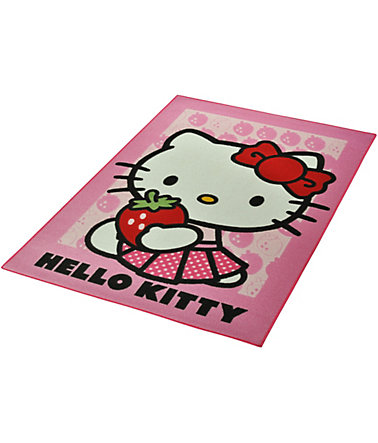 Kinderteppich, »Hello Kitty - Strawberry«, Hello Kitty, rechteckig, Höhe 7 mm - rosa - (L/B:133/95cm)0 - 7mm