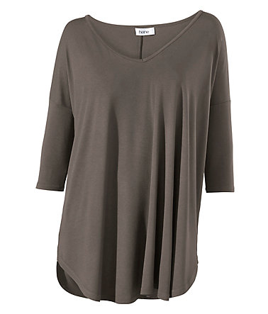 B.C. BEST CONNECTIONS by Heine Oversized-Shirt mit V-Ausschnitt - taupe - 3434